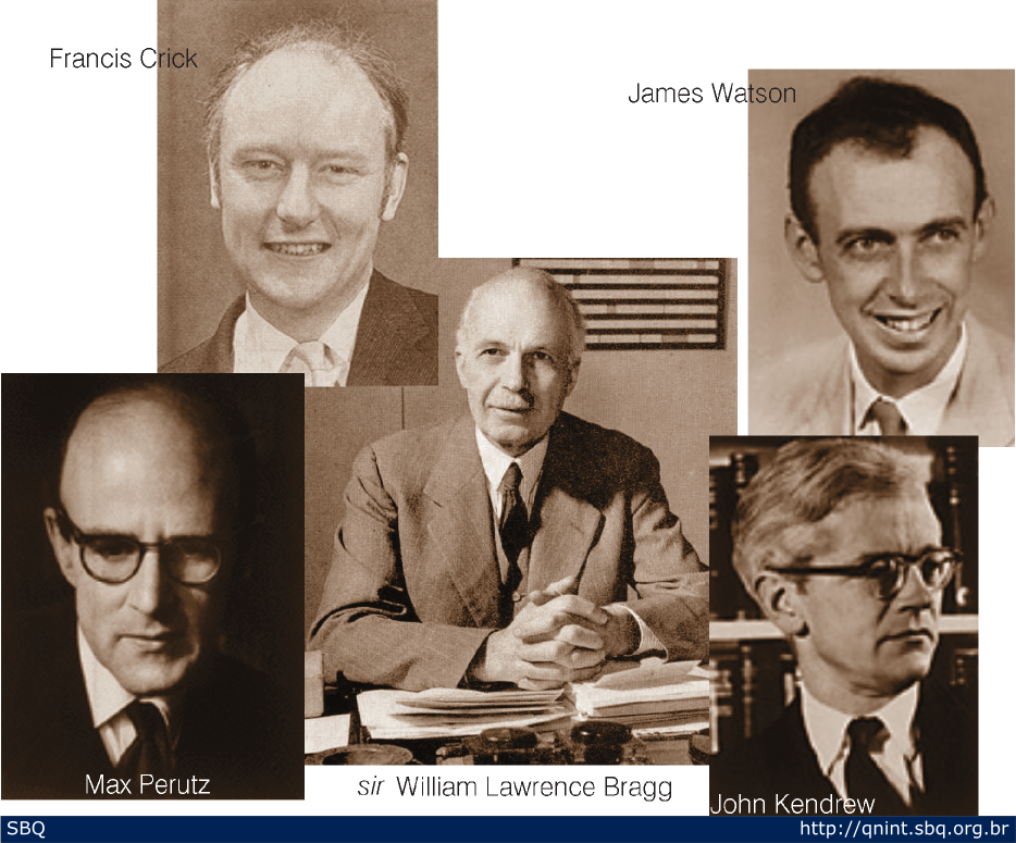 Figura 12: Francis Crick e James Watson foram trabalhar juntos em Cambridge sob a supervisão de Max Perutz e John Kendrew, respectivamente, no grupo liderado por sir William Lawrence Bragg.